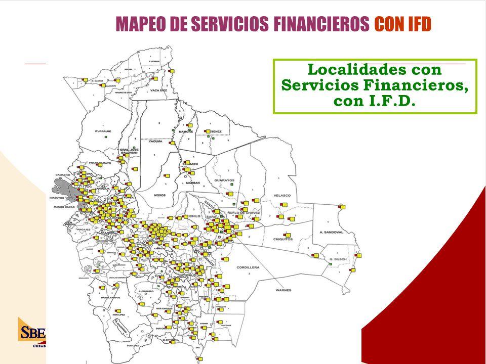Localidades con Servicios Financieros, con I.F.D.