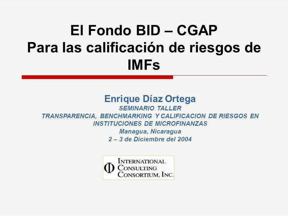 El Fondo BID – CGAP Para las calificación de riesgos de IMFs