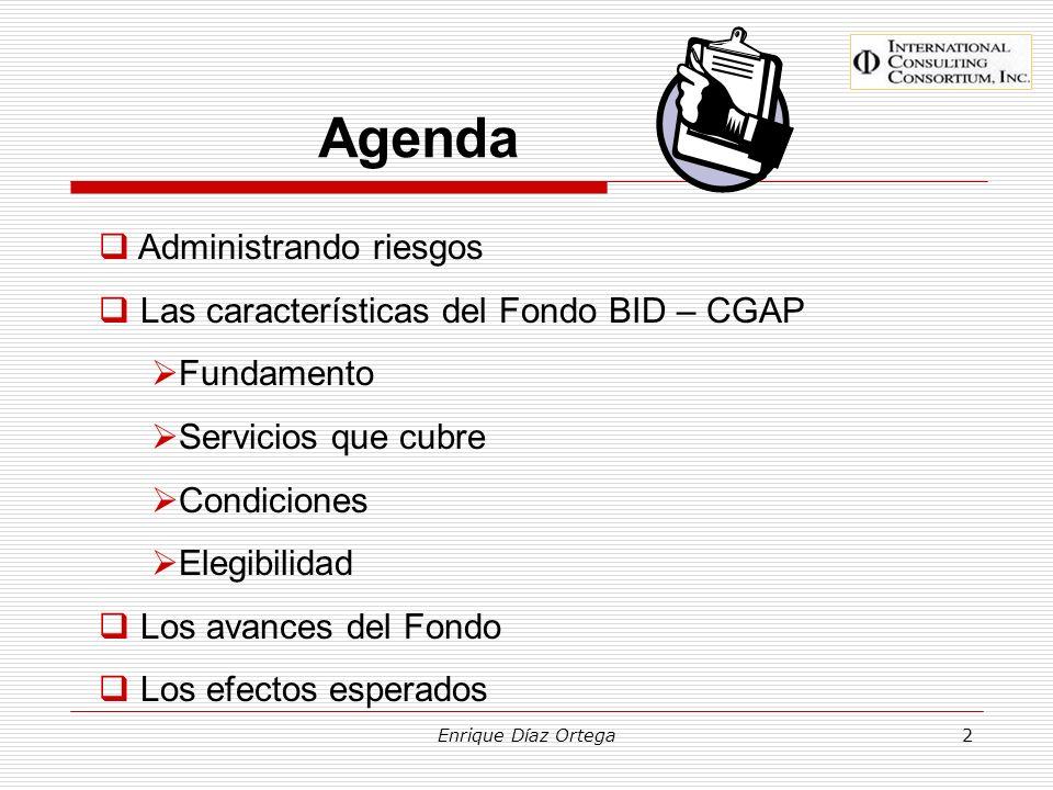 Agenda Administrando riesgos Las características del Fondo BID – CGAP