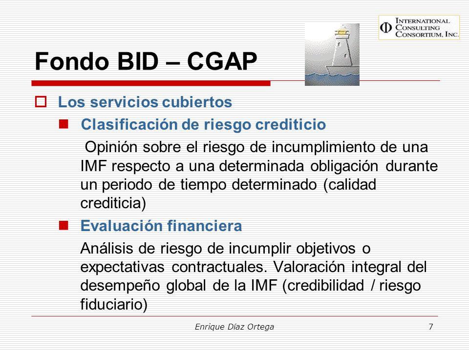 Fondo BID – CGAP Los servicios cubiertos