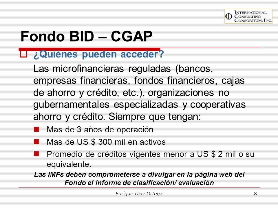 Fondo BID – CGAP ¿Quiénes pueden acceder