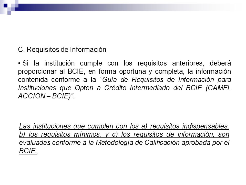 C. Requisitos de Información