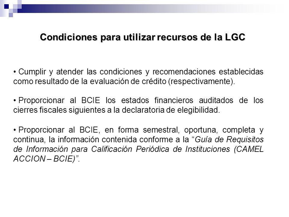 Condiciones para utilizar recursos de la LGC