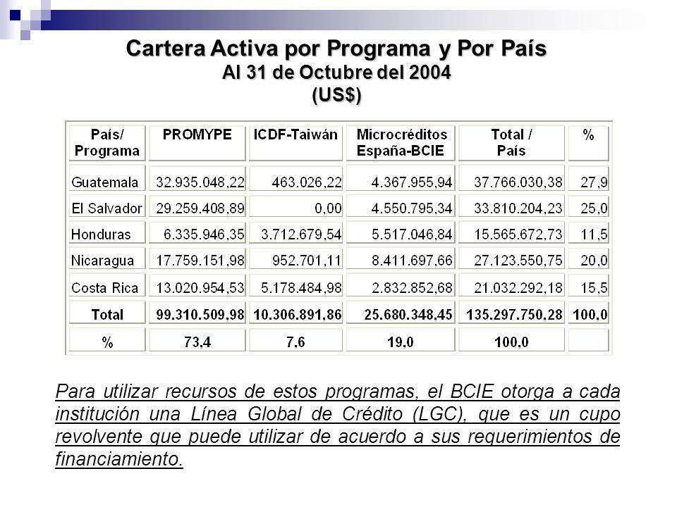 Cartera Activa por Programa y Por País Al 31 de Octubre del 2004 (US$)