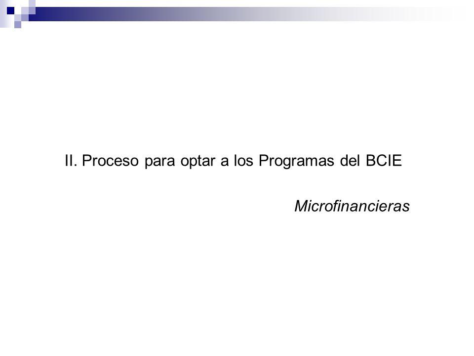 II. Proceso para optar a los Programas del BCIE