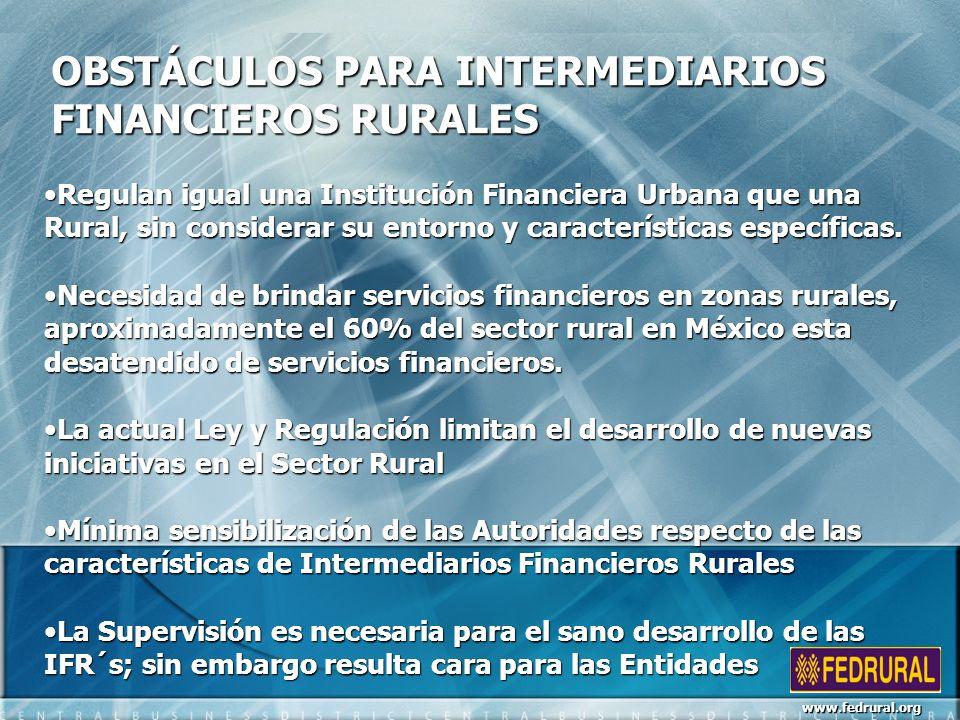 OBSTÁCULOS PARA INTERMEDIARIOS FINANCIEROS RURALES