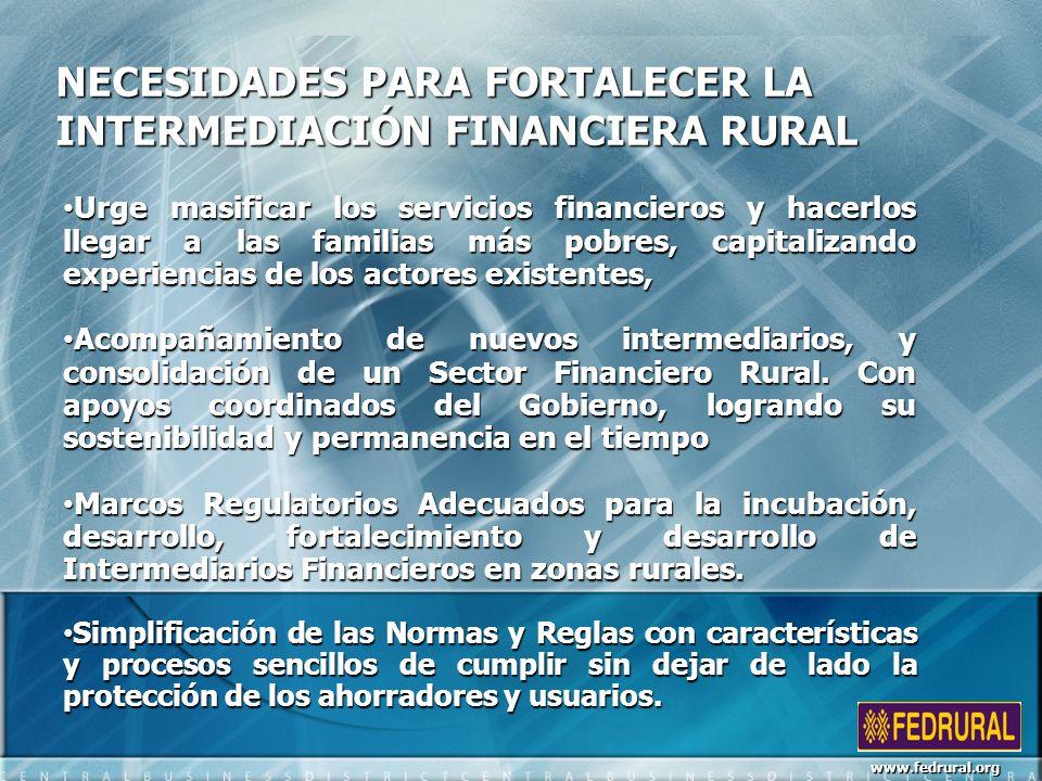 NECESIDADES PARA FORTALECER LA INTERMEDIACIÓN FINANCIERA RURAL