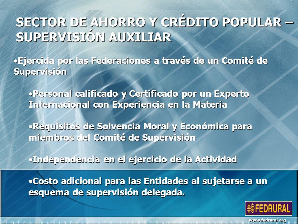 SECTOR DE AHORRO Y CRÉDITO POPULAR – SUPERVISIÓN AUXILIAR