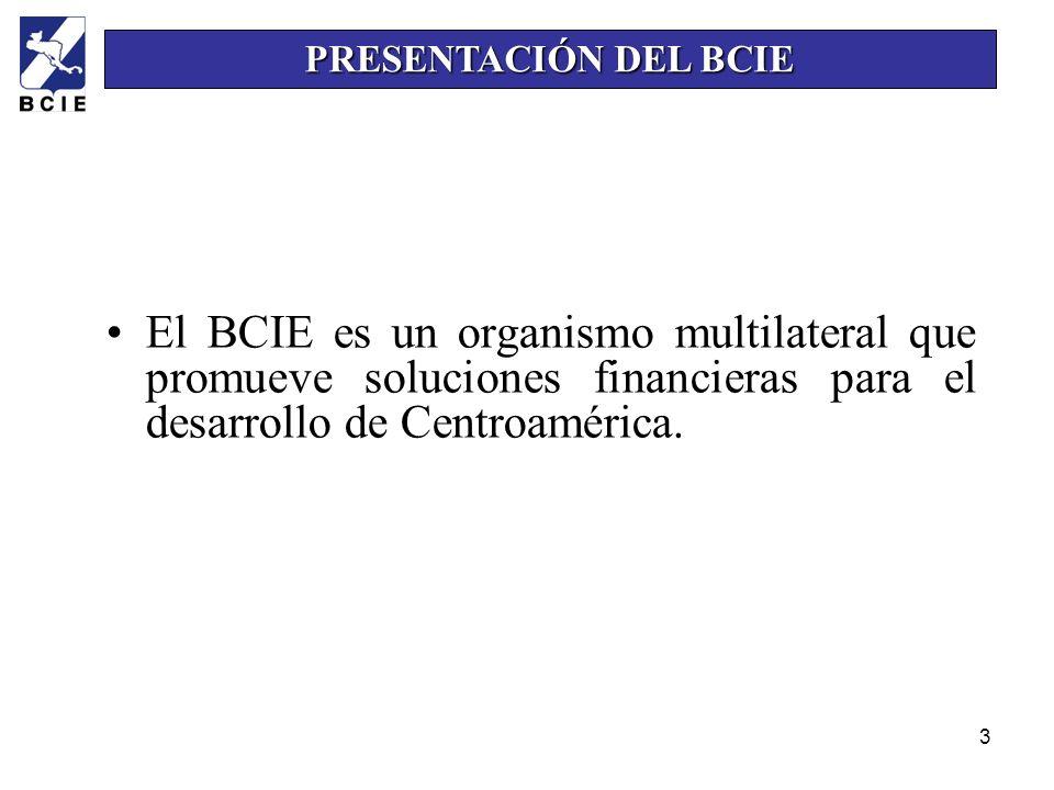 PRESENTACIÓN DEL BCIE El BCIE es un organismo multilateral que promueve soluciones financieras para el desarrollo de Centroamérica.