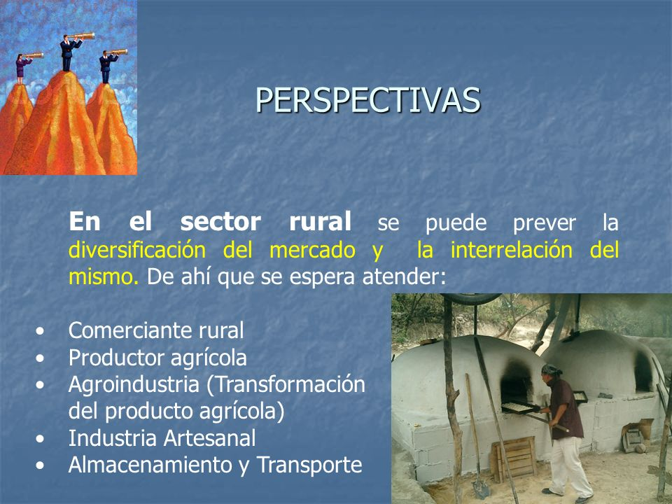 PERSPECTIVASEn el sector rural se puede prever la diversificación del mercado y la interrelación del mismo. De ahí que se espera atender: