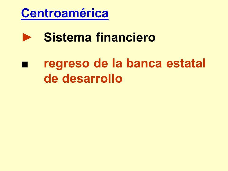 Centroamérica ► Sistema financiero ■ regreso de la banca estatal de desarrollo