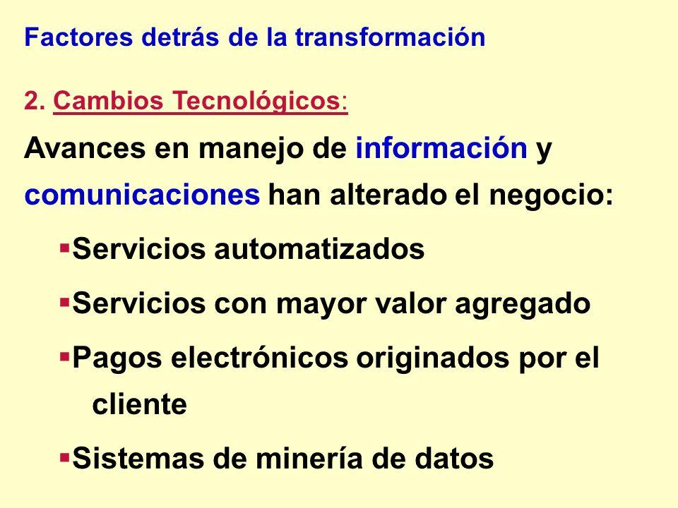Servicios automatizados Servicios con mayor valor agregado
