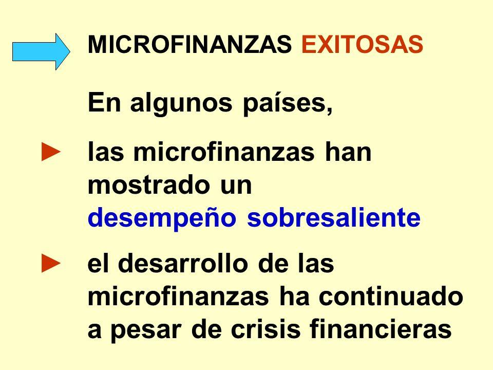 ► las microfinanzas han mostrado un desempeño sobresaliente