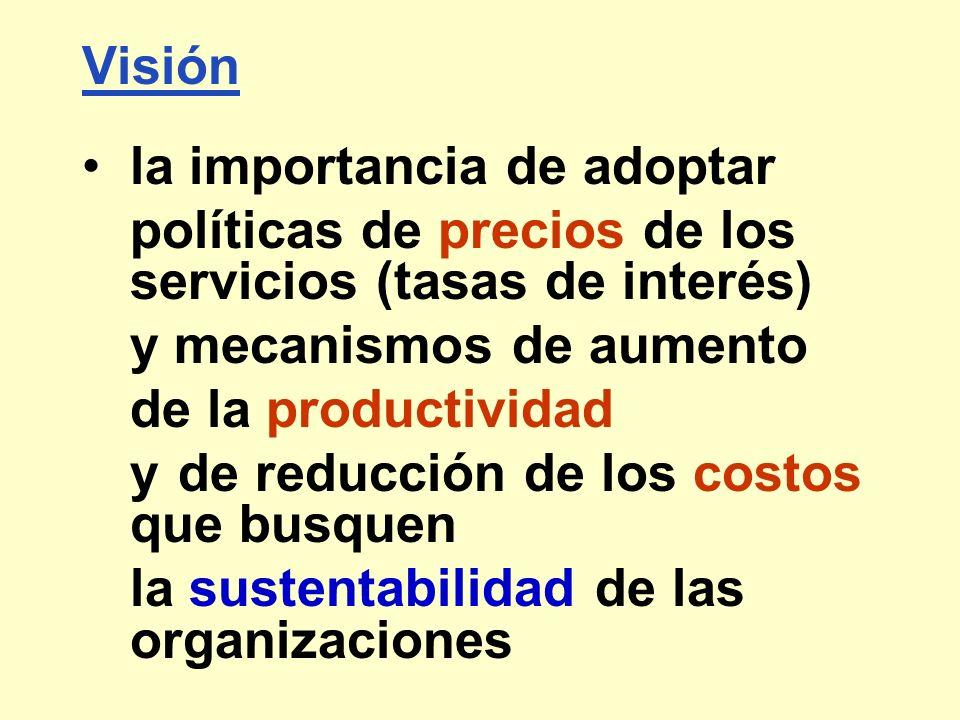 Visión la importancia de adoptar. políticas de precios de los servicios (tasas de interés) y mecanismos de aumento.
