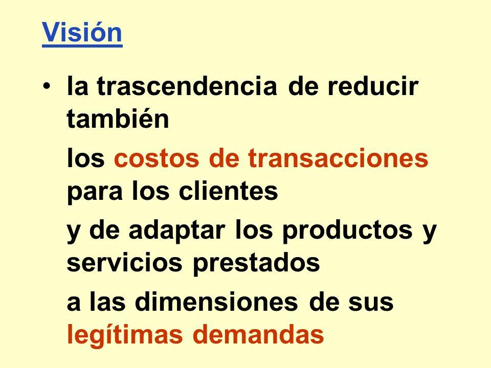 Visión la trascendencia de reducir también. los costos de transacciones para los clientes. y de adaptar los productos y servicios prestados.