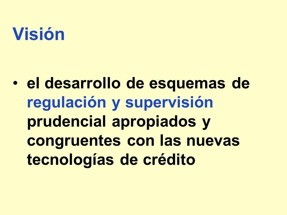 Visiónel desarrollo de esquemas de regulación y supervisión prudencial apropiados y congruentes con las nuevas tecnologías de crédito.
