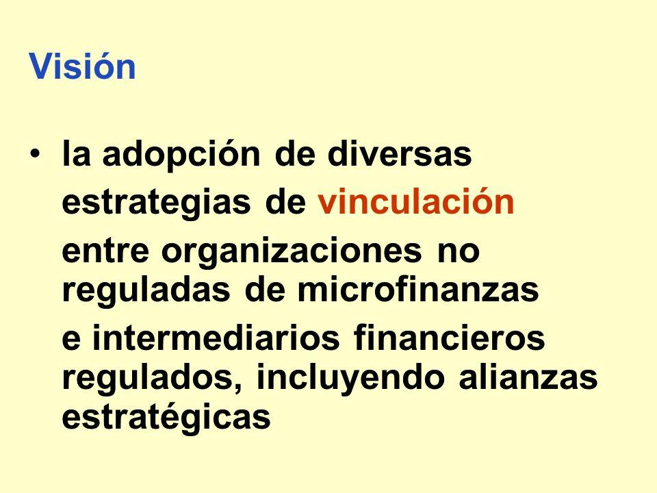 Visión la adopción de diversas. estrategias de vinculación. entre organizaciones no reguladas de microfinanzas.