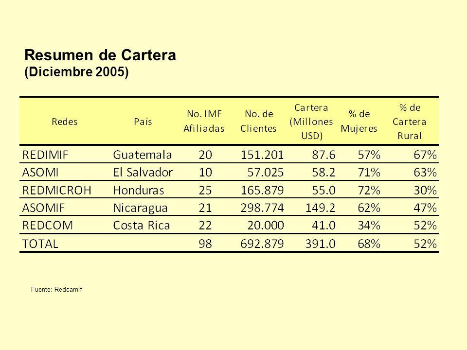 Resumen de Cartera (Diciembre 2005) Fuente: Redcamif