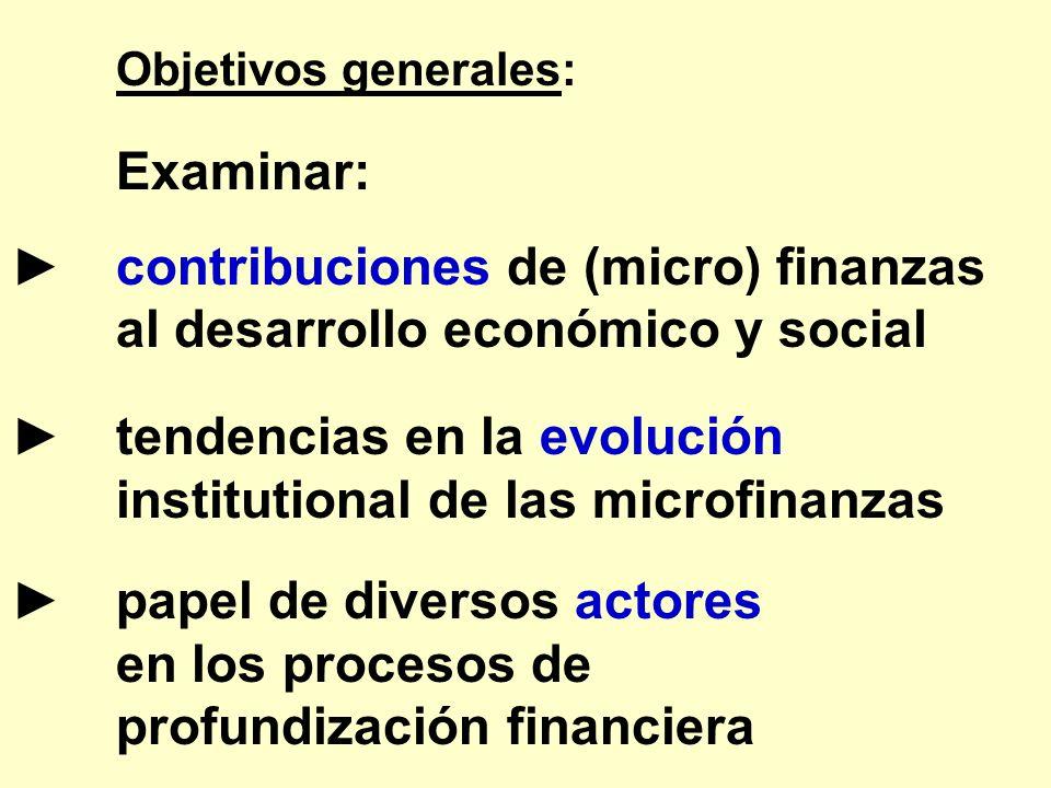 ► contribuciones de (micro) finanzas al desarrollo económico y social