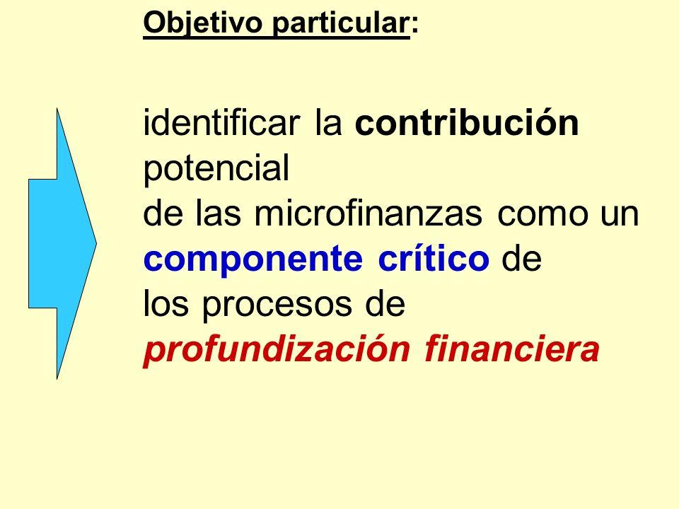 de las microfinanzas como un componente crítico de los procesos de