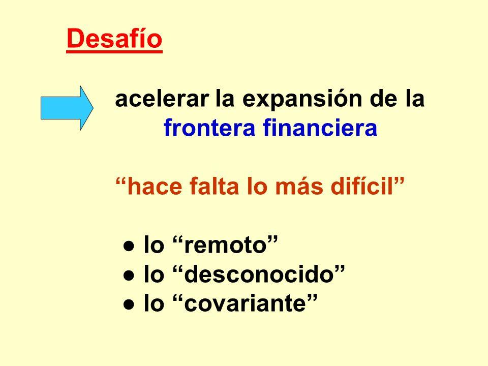 Desafío acelerar la expansión de la frontera financiera. hace falta lo más difícil ● lo remoto