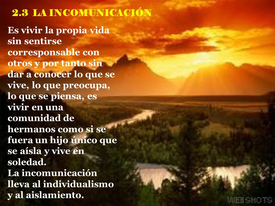 2.3 LA INCOMUNICACIÓN