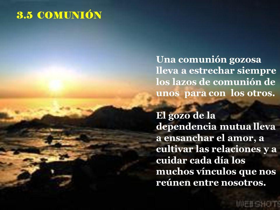 3.5 COMUNIÓN Una comunión gozosa lleva a estrechar siempre los lazos de comunión de unos para con los otros.