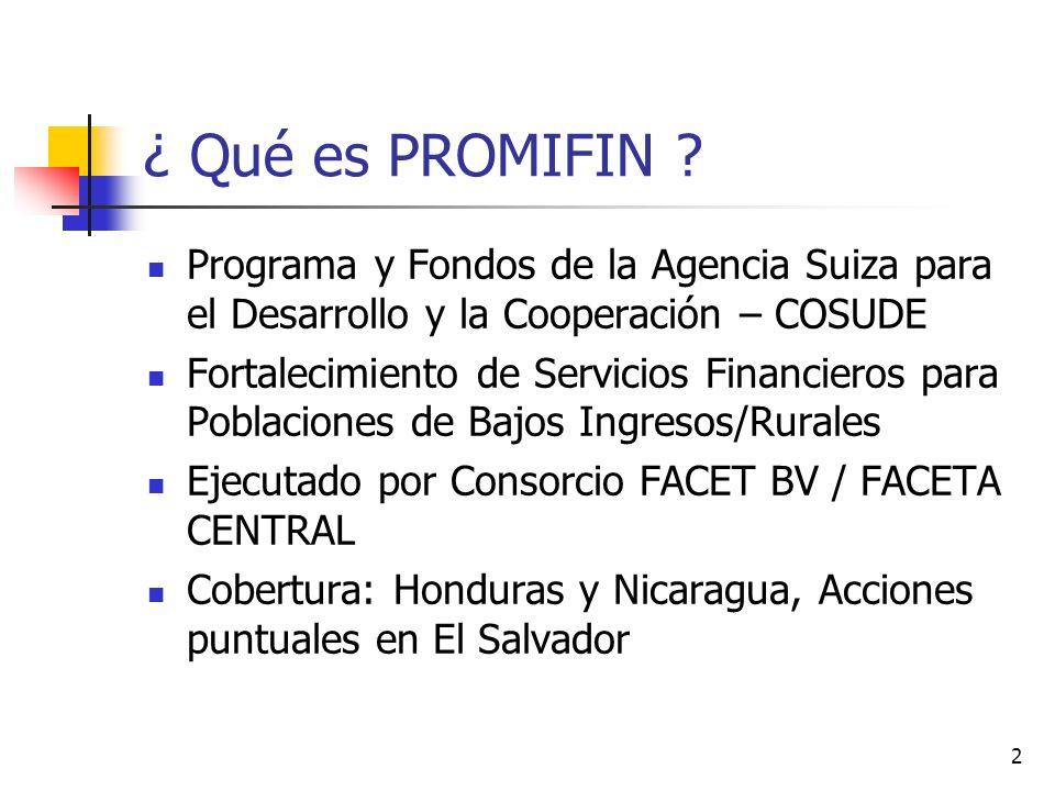 ¿ Qué es PROMIFIN Programa y Fondos de la Agencia Suiza para el Desarrollo y la Cooperación – COSUDE.