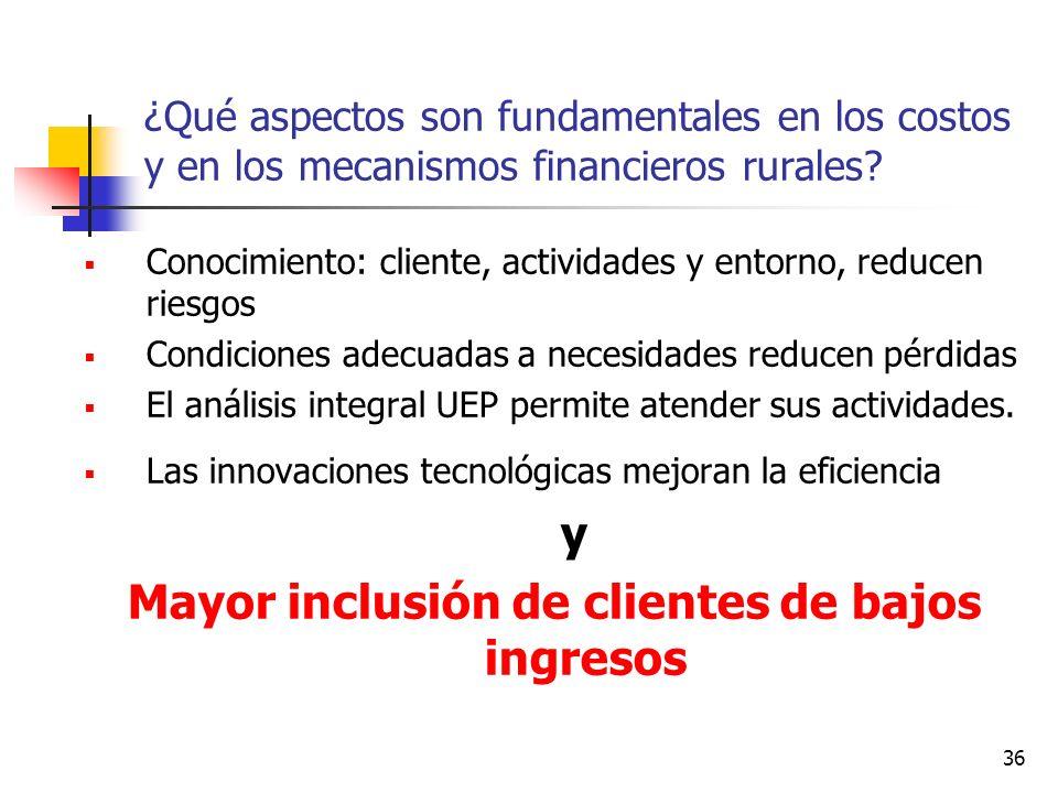 Mayor inclusión de clientes de bajos ingresos