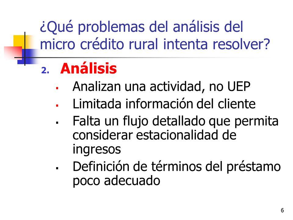 ¿Qué problemas del análisis del micro crédito rural intenta resolver