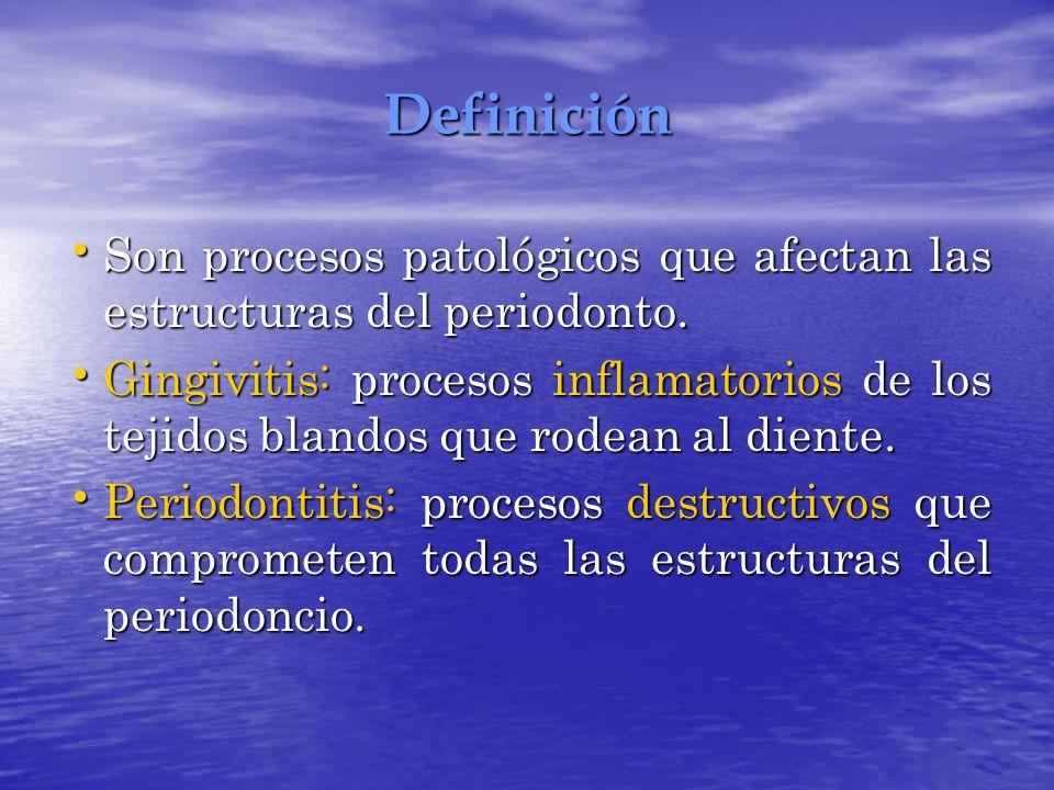 Definición Son procesos patológicos que afectan las estructuras del periodonto.