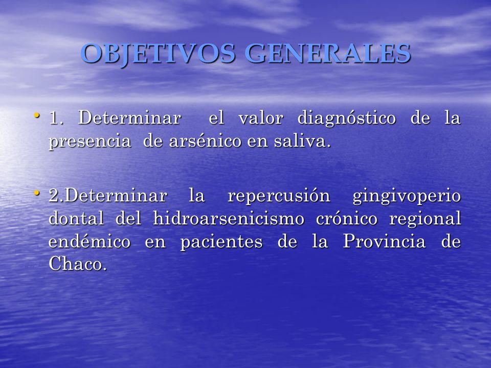 OBJETIVOS GENERALES 1. Determinar el valor diagnóstico de la presencia de arsénico en saliva.
