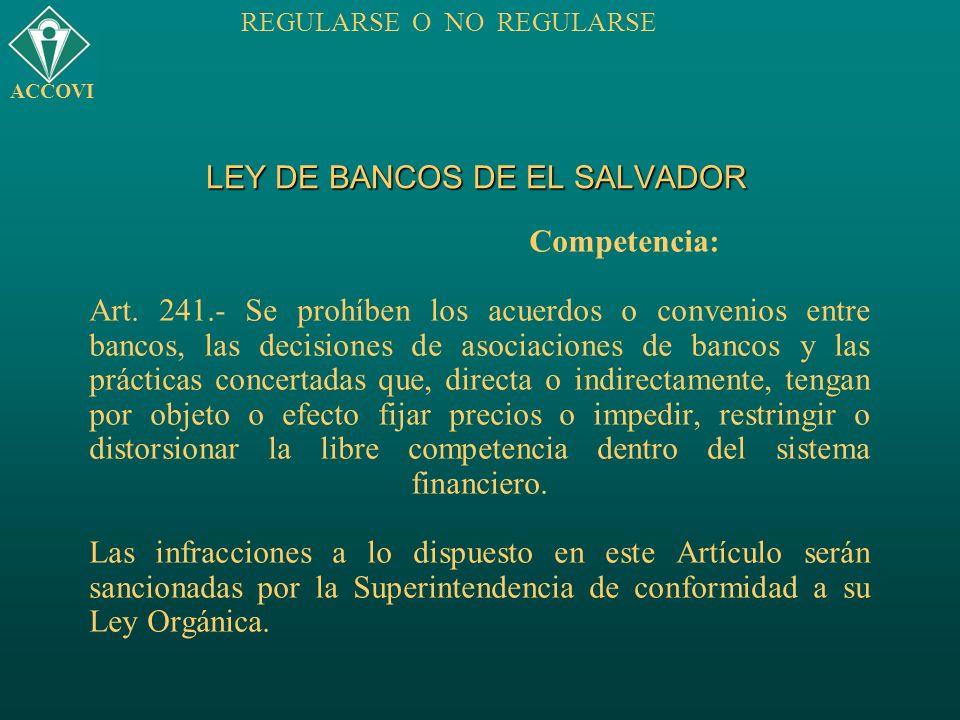 LEY DE BANCOS DE EL SALVADOR