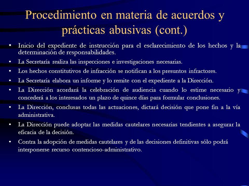 Procedimiento en materia de acuerdos y prácticas abusivas (cont.)