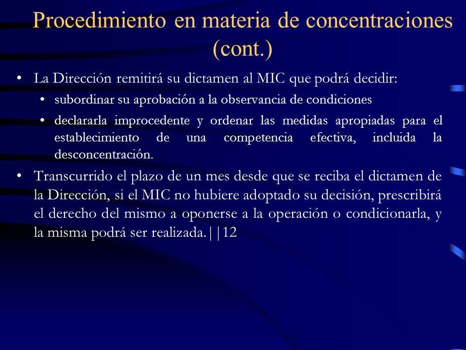 Procedimiento en materia de concentraciones (cont.)