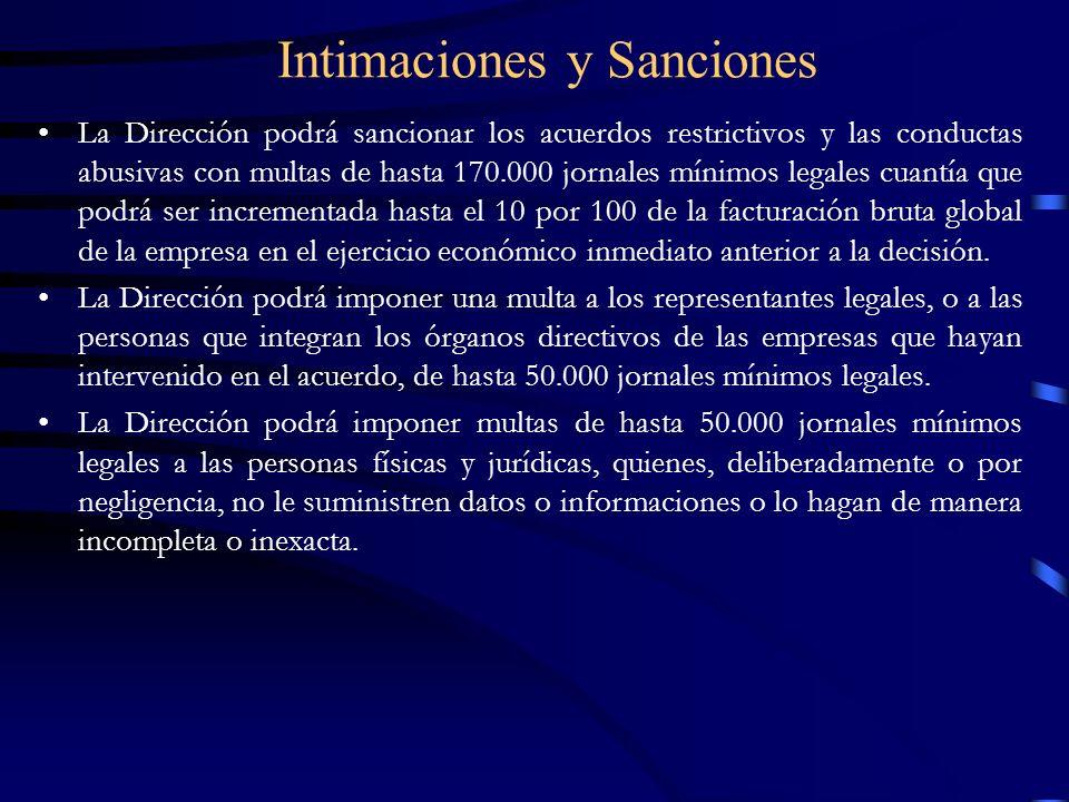 Intimaciones y Sanciones