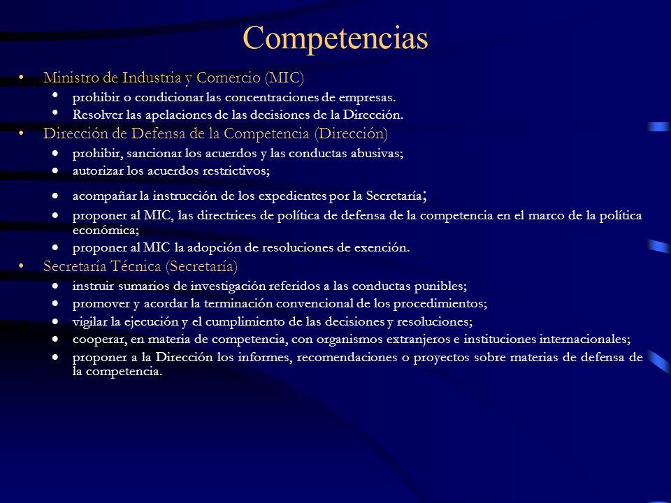 Competencias Ministro de Industria y Comercio (MIC)