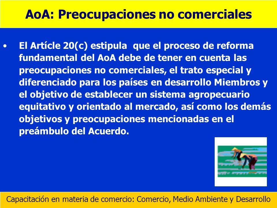 AoA: Preocupaciones no comerciales