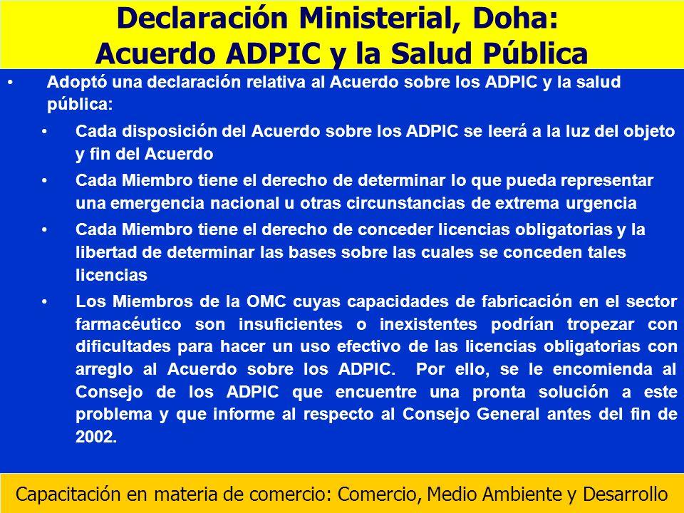 Declaración Ministerial, Doha: Acuerdo ADPIC y la Salud Pública