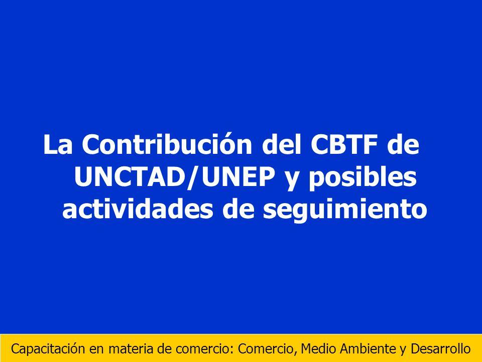 La Contribución del CBTF de UNCTAD/UNEP y posibles actividades de seguimiento