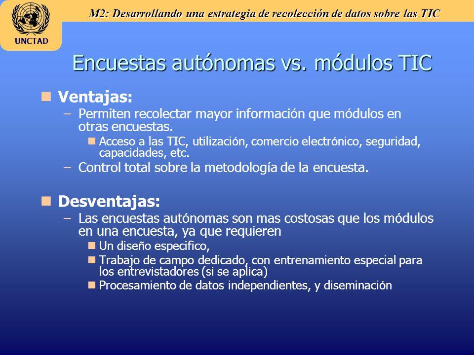 Encuestas autónomas vs. módulos TIC