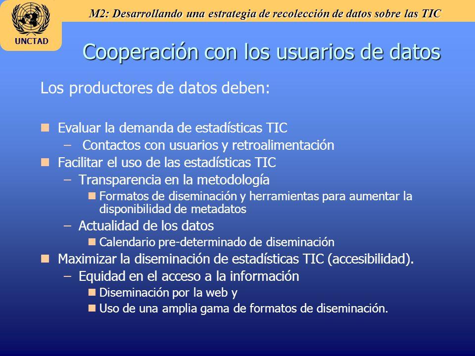Cooperación con los usuarios de datos