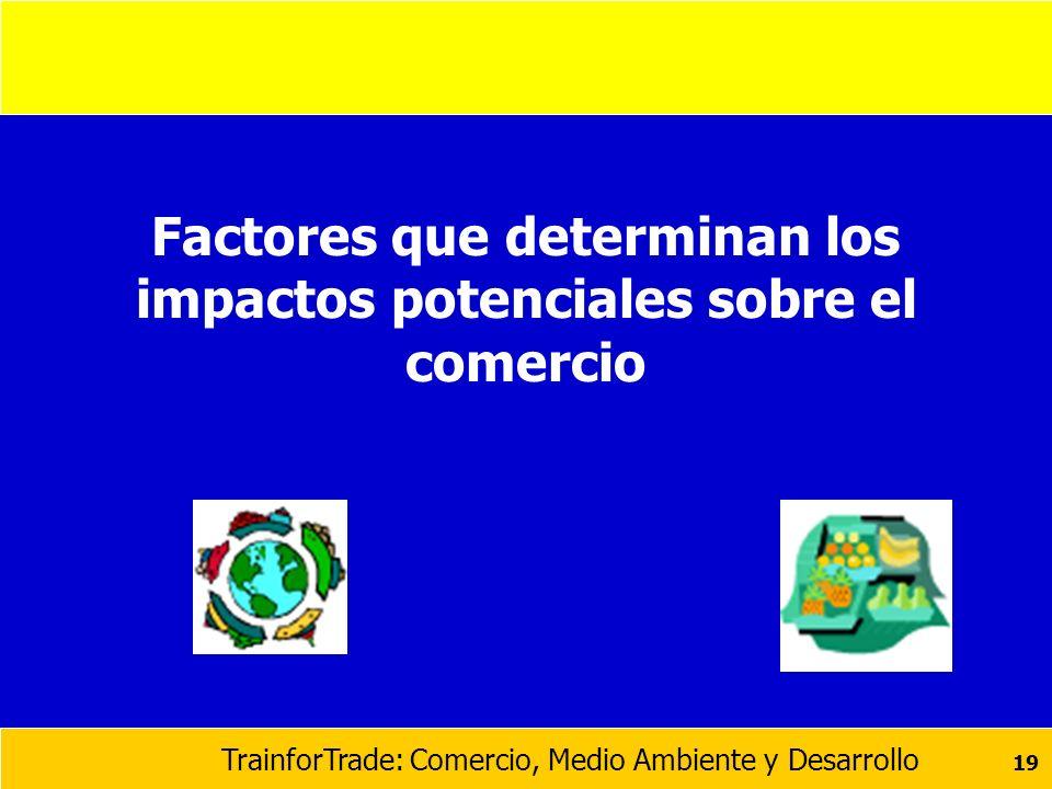Factores que determinan los impactos potenciales sobre el comercio