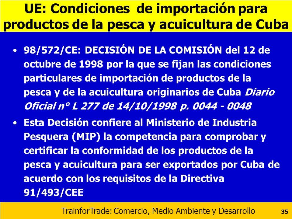 UE: Condiciones de importación para productos de la pesca y acuicultura de Cuba