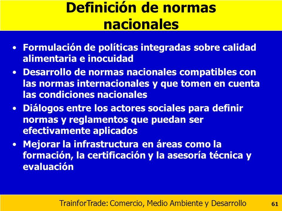 Definición de normas nacionales