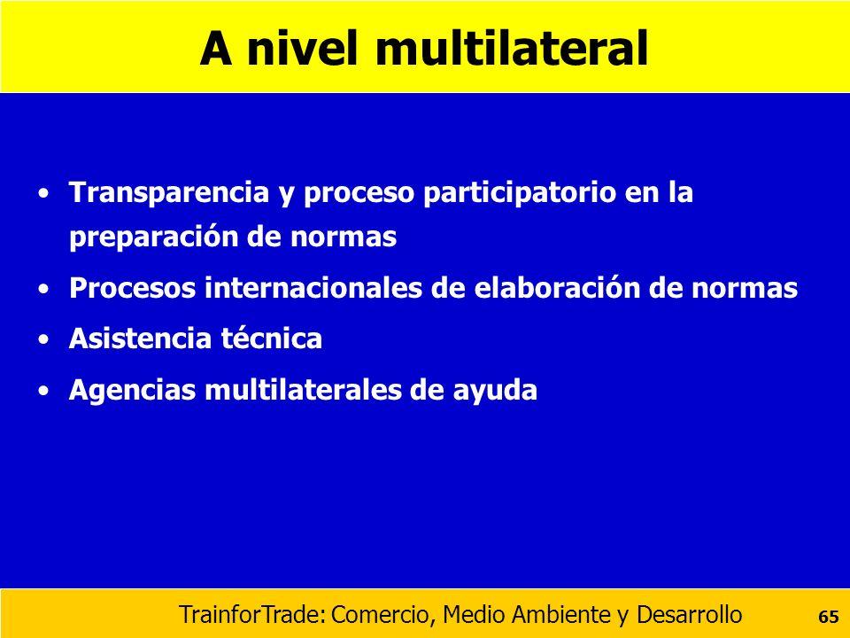 A nivel multilateral Transparencia y proceso participatorio en la preparación de normas. Procesos internacionales de elaboración de normas.