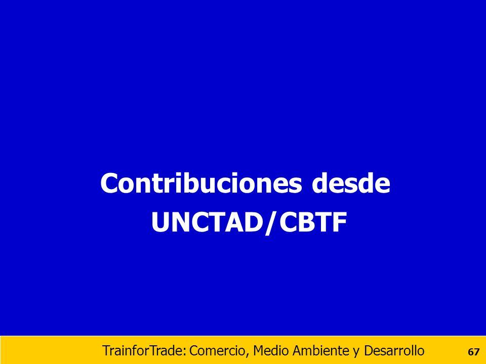 Contribuciones desde UNCTAD/CBTF