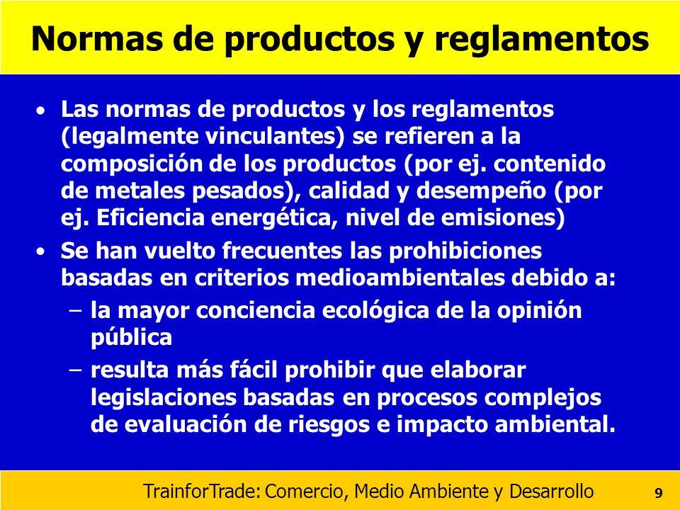 Normas de productos y reglamentos