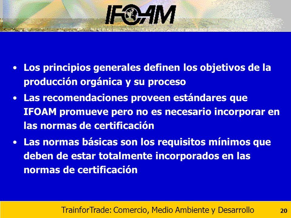 Los principios generales definen los objetivos de la producción orgánica y su proceso