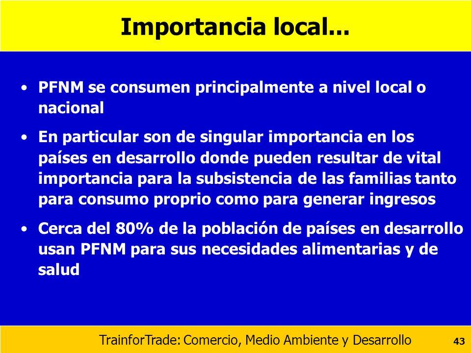 Importancia local...PFNM se consumen principalmente a nivel local o nacional.